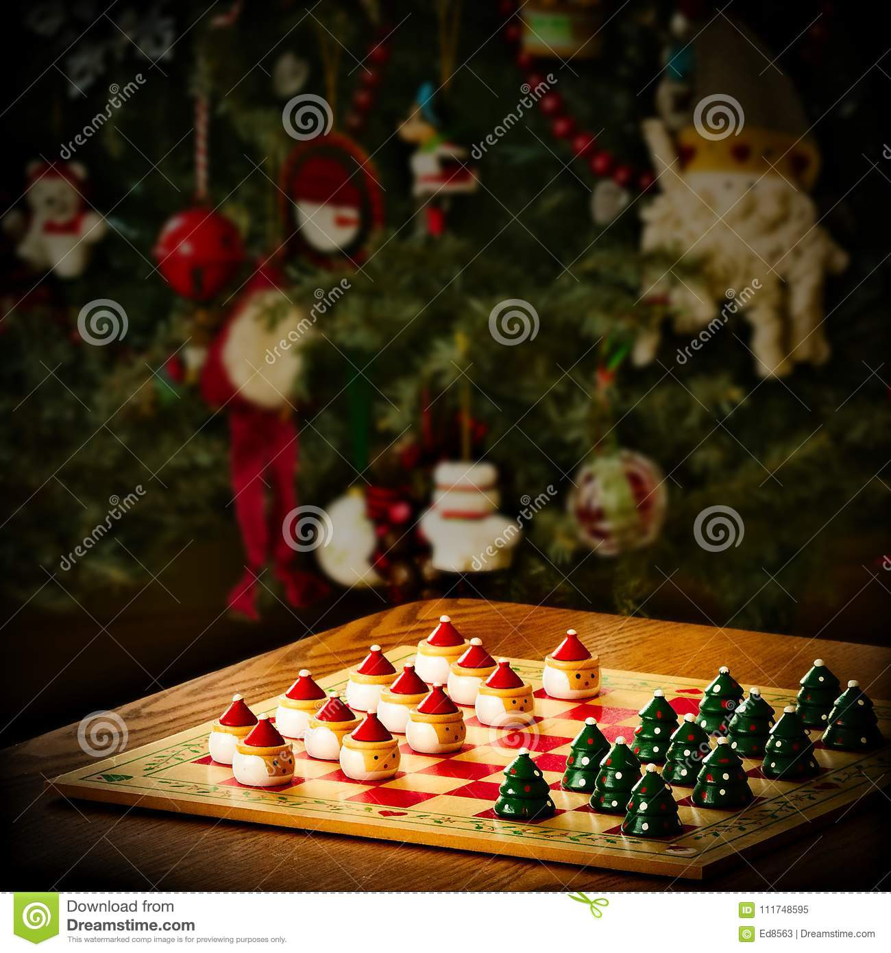 download christmas holiday checker board game and tree decorations stock image image of activity