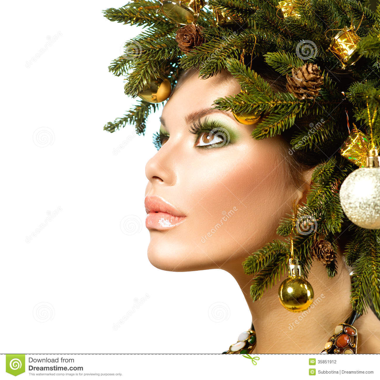 Christmas Holiday Hairstyle Stock Photography Image