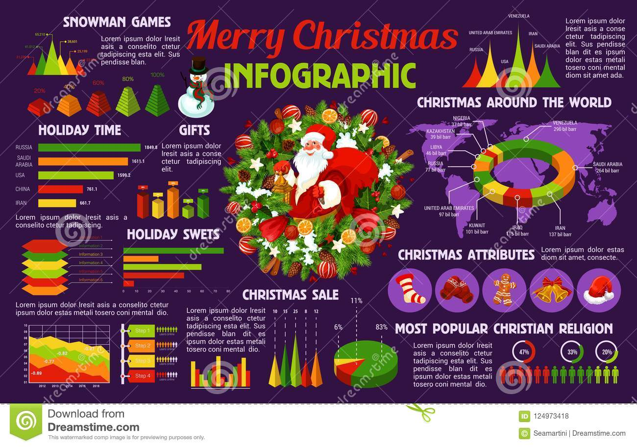 Christmas Holiday Celebration Infographic Template Stock Vector