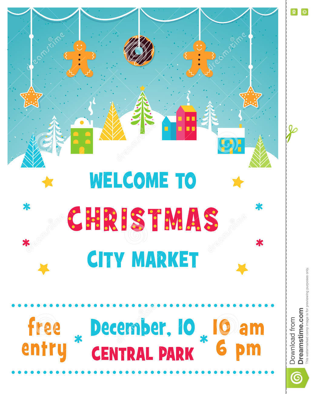 Christmas Holiday Market Or Fair Poster With Snowy Winter Town ...
