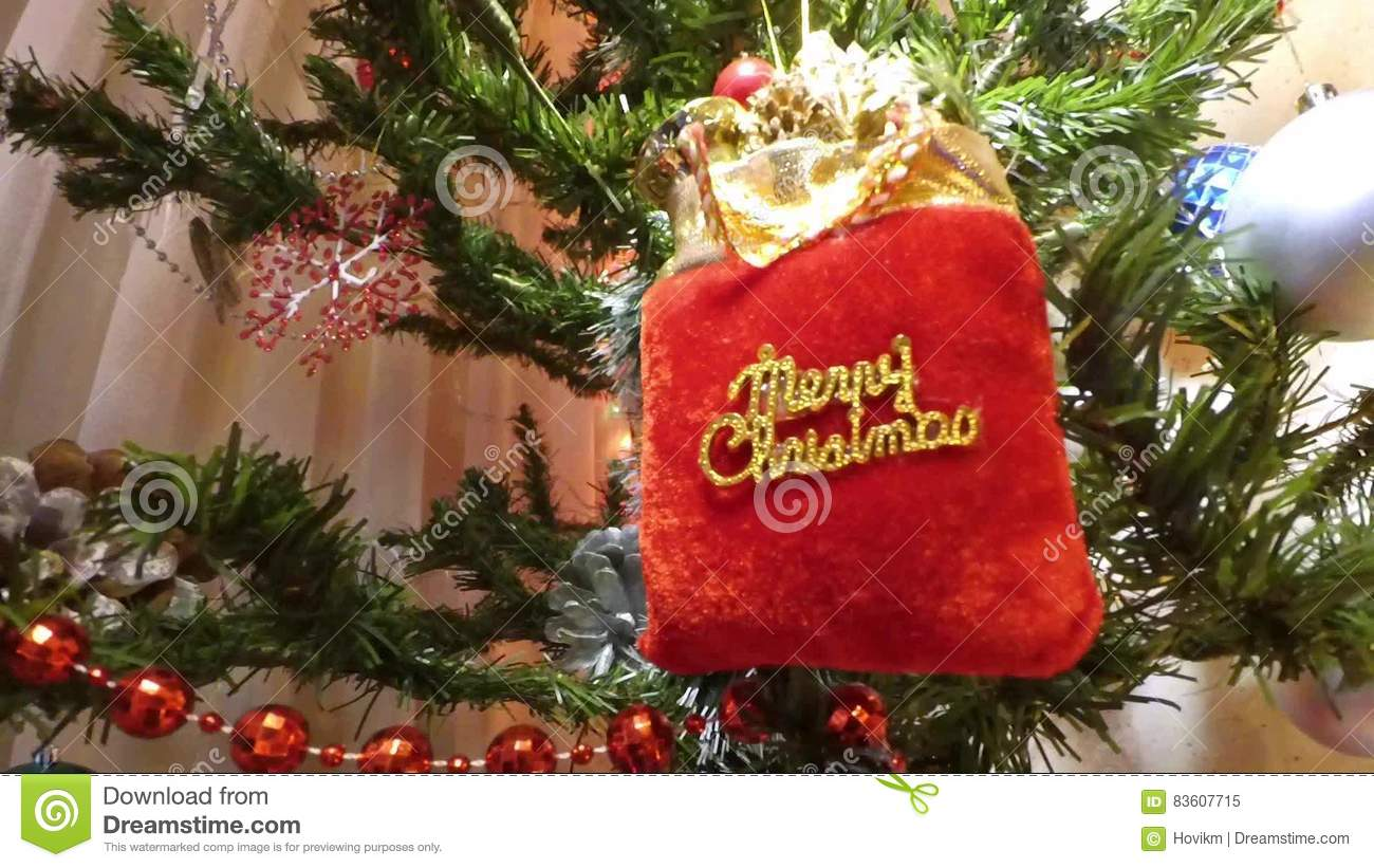 Christmas Holiday, Merry Christmas Packet In Xmass Tree Stock Video ...