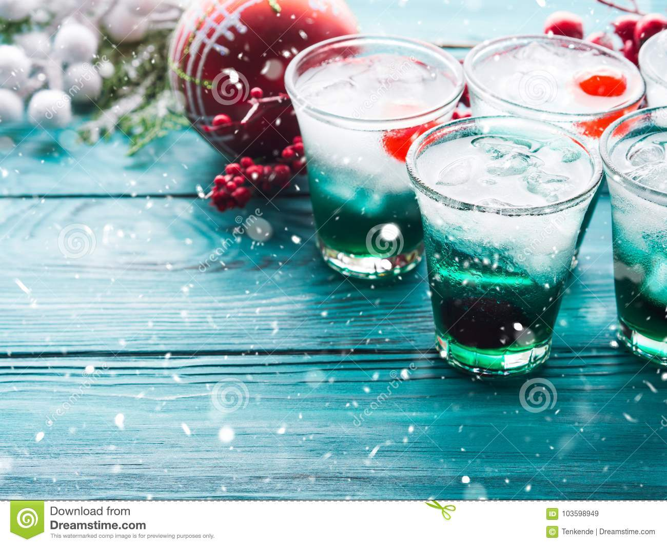 Christmas Drinks Alcohol.Christmas Holiday Party Background With Drinks Stock Image