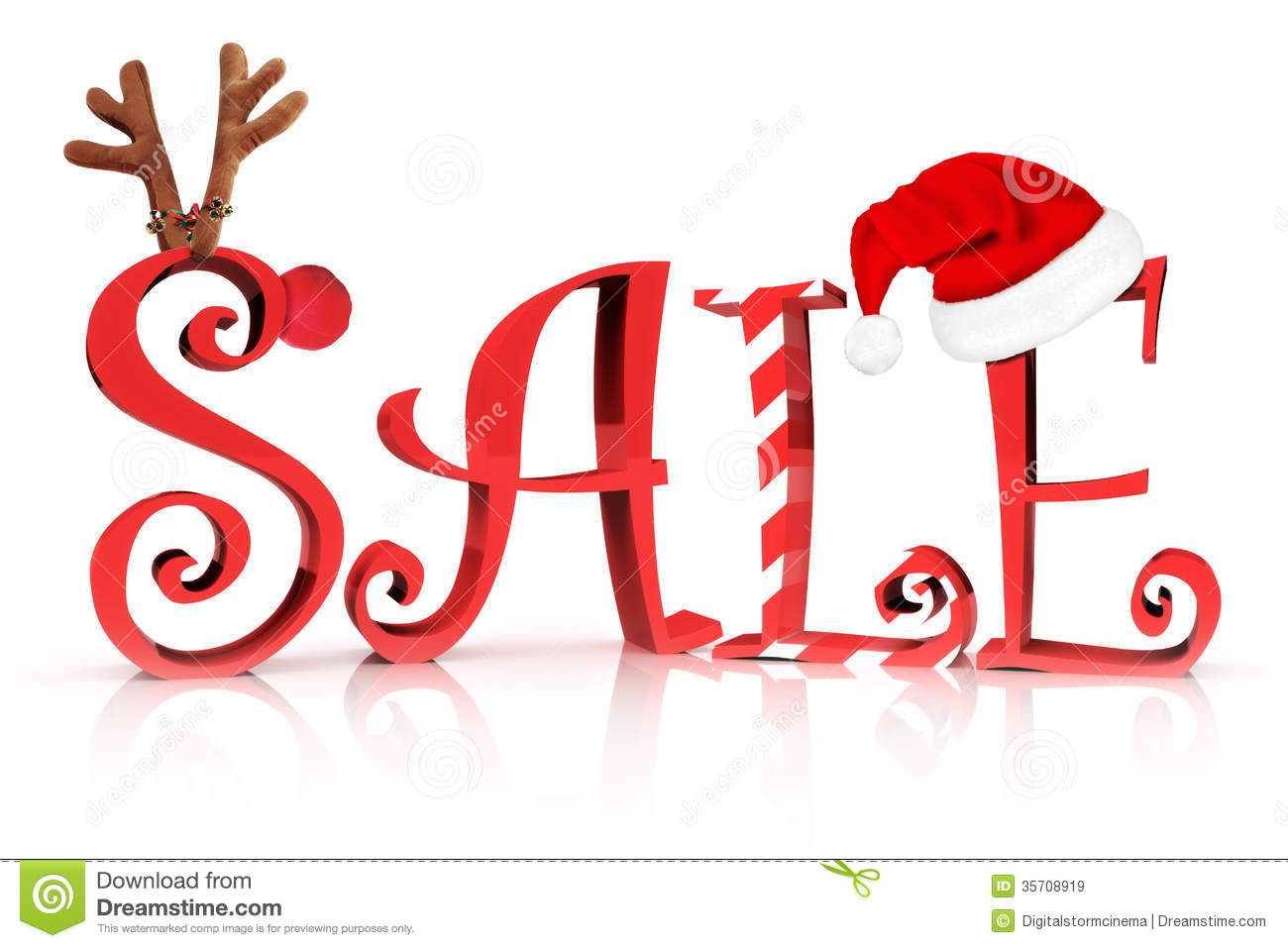 Sale in text with Reindeer , candy cane and Santa hat accents on a ...