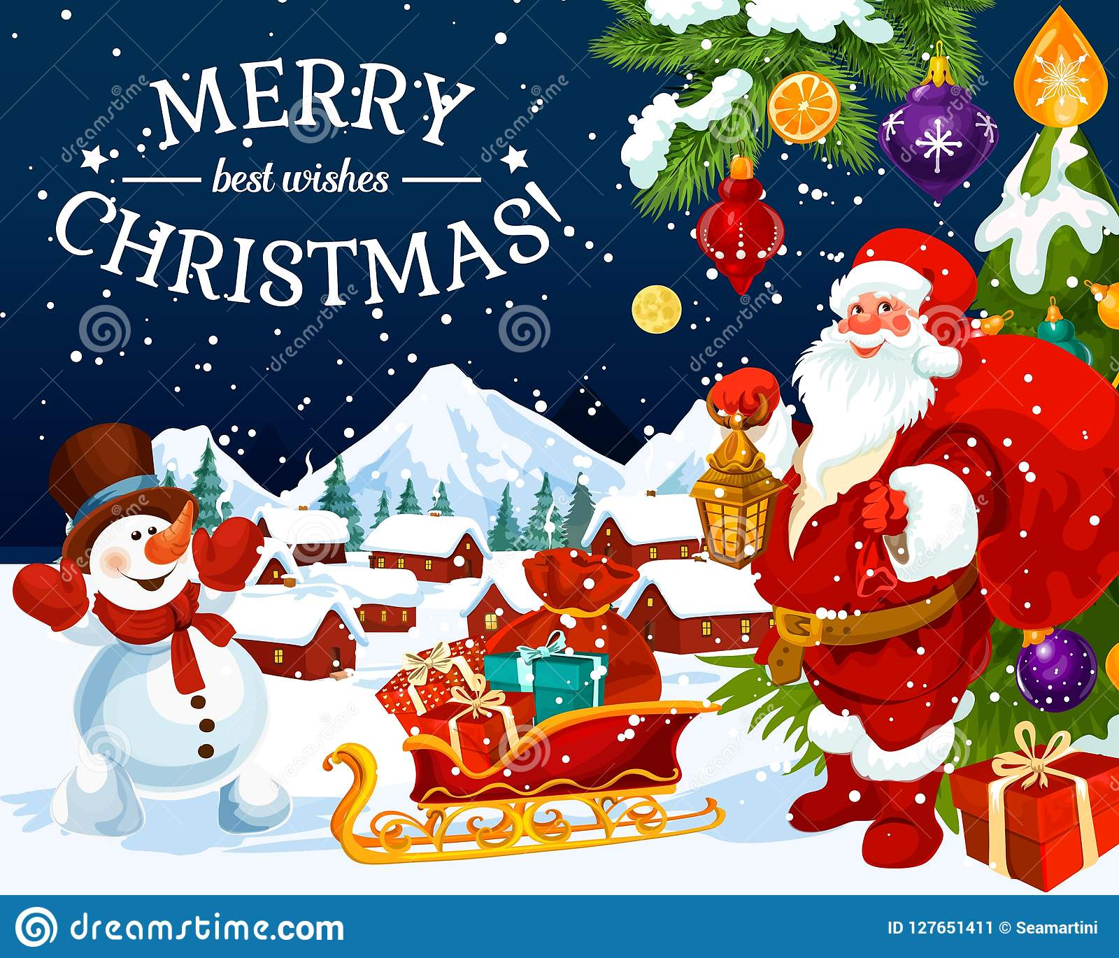 Christmas Holiday Santa And Snowman Greeting Card Stock Vector Illustration Of Night Background 127651411