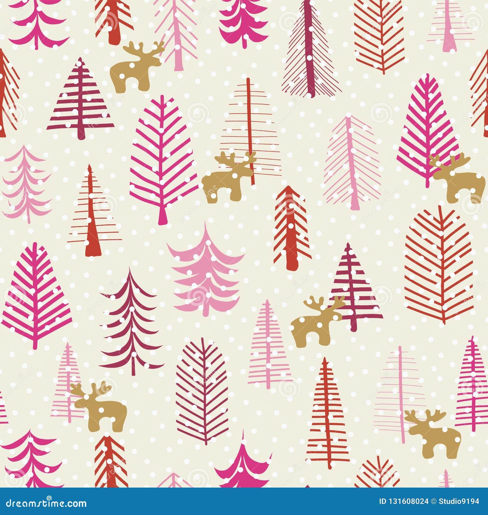 Christmas holiday seamless pattern reindeer trees