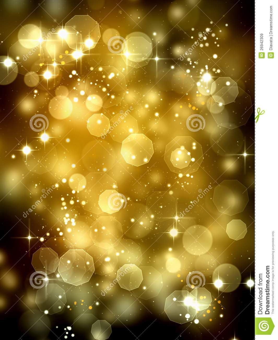 Christmas and holiday season background with with golden bokeh lights ...
