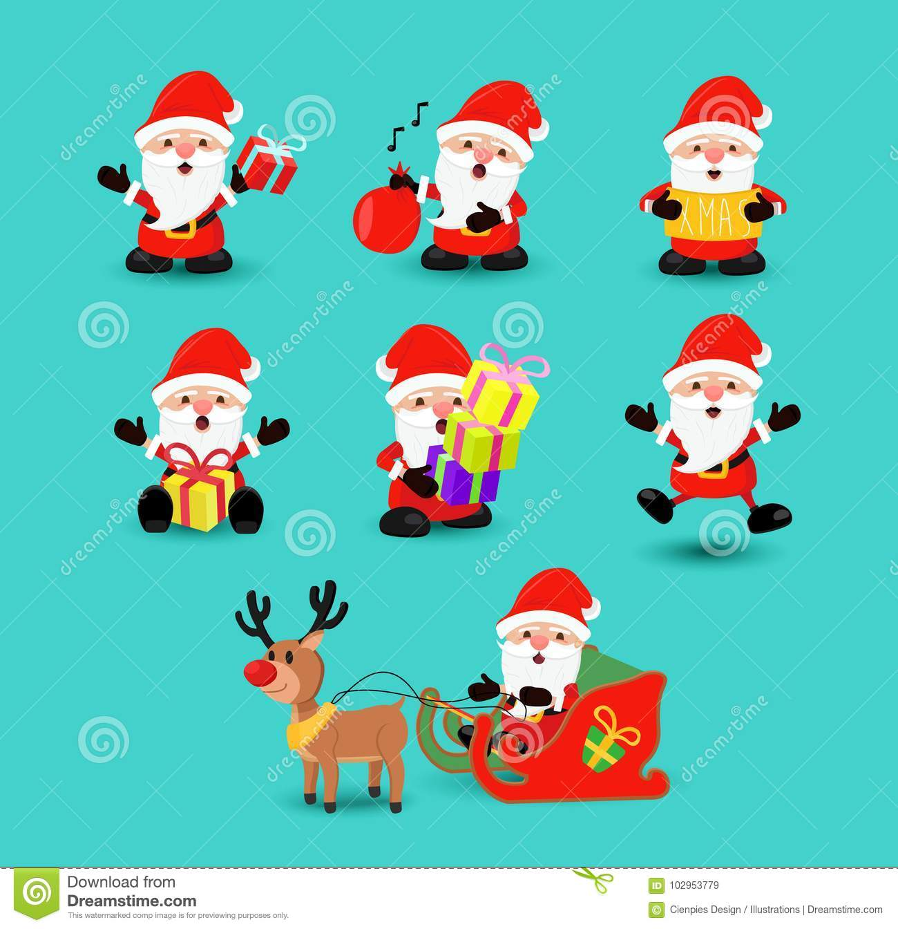 f83268230f1 Christmas holiday set of cute santa claus character cartoons in different  poses and emotions. Includes reindeer