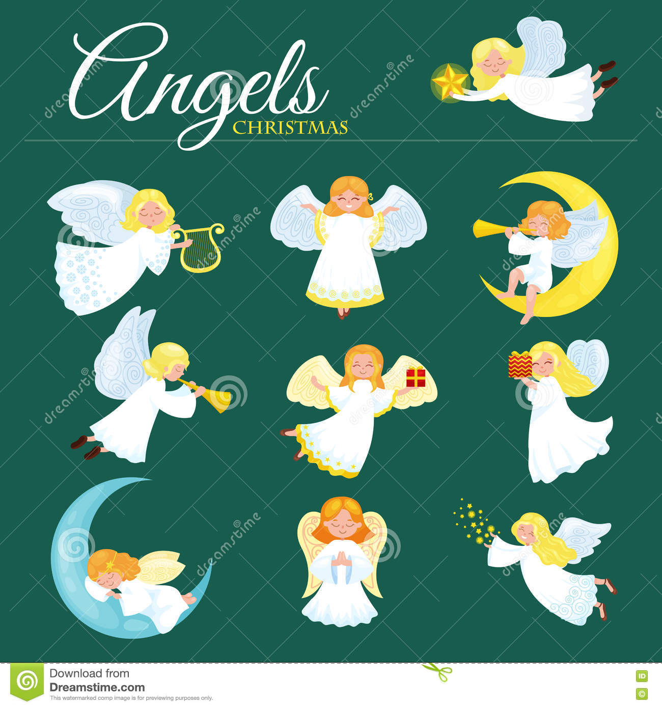 christmas holiday flying angel with wings and golden trumpet like symbol in christian religion or new year holiday vector illustration