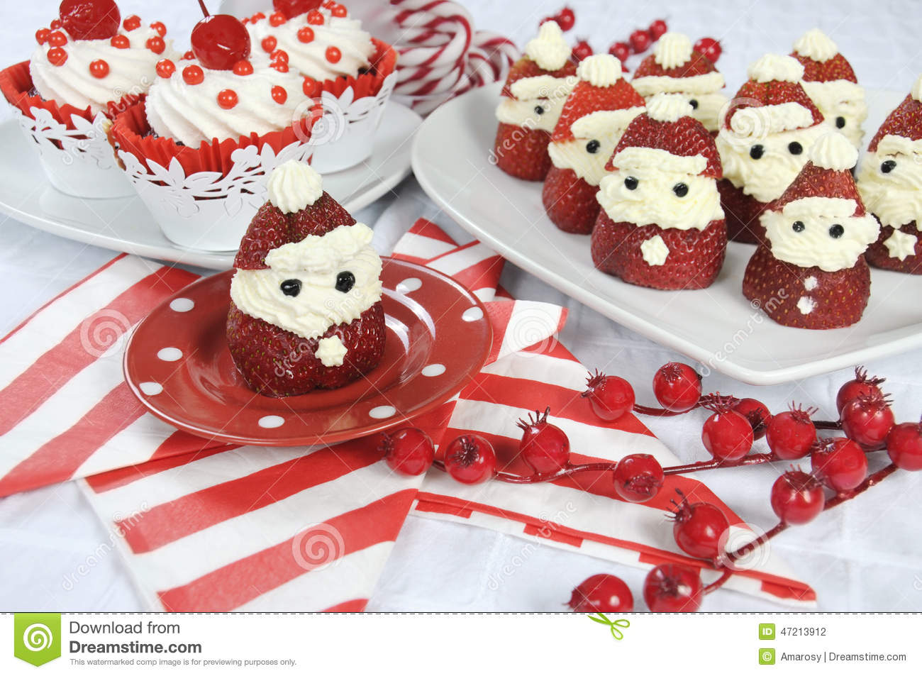 Christmas Holiday Strawberry Santas With Cherry Red Velvet