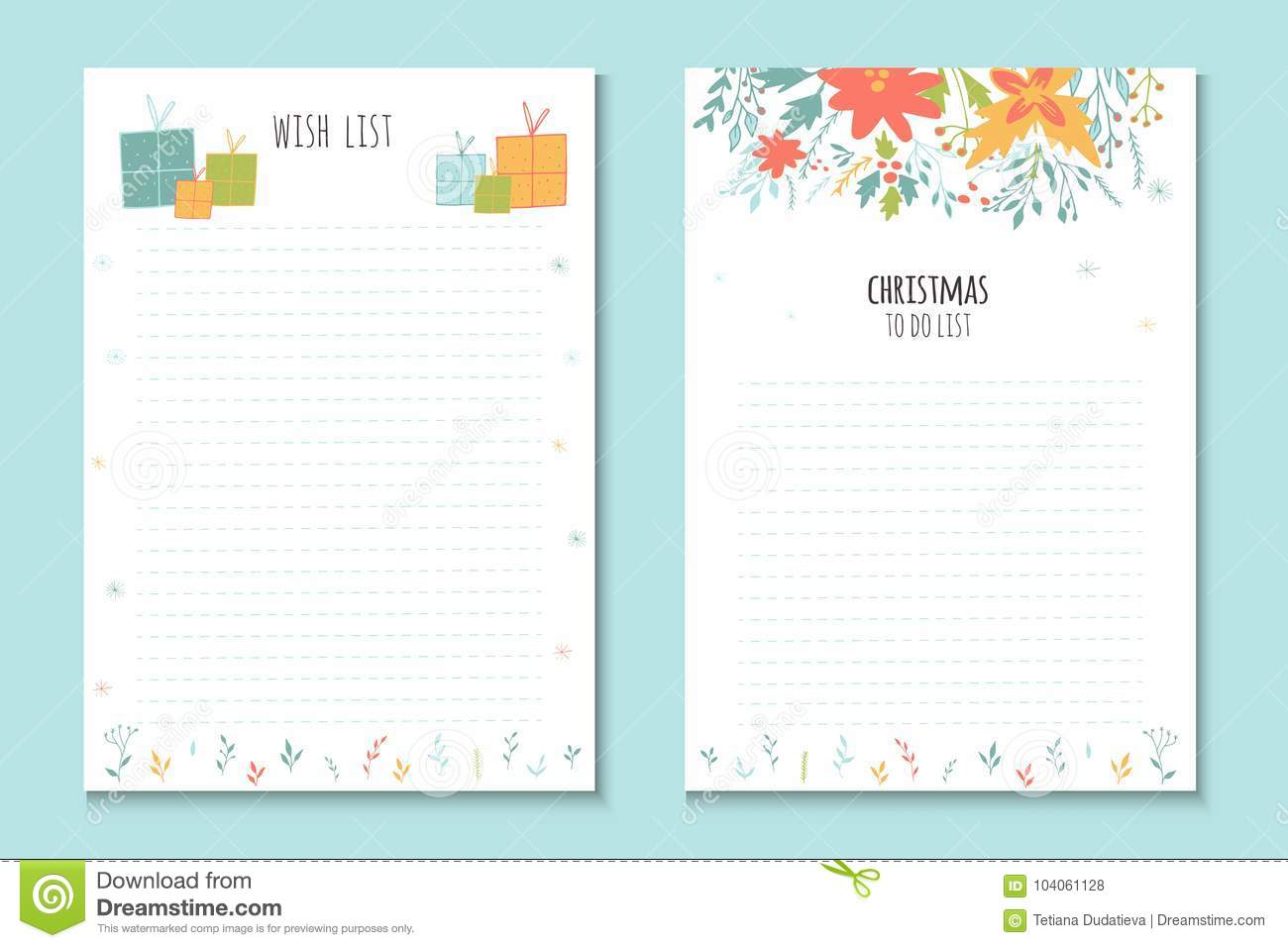 Christmas Holiday To Do Lists, Cute Notes With Winter Ill Stock ...