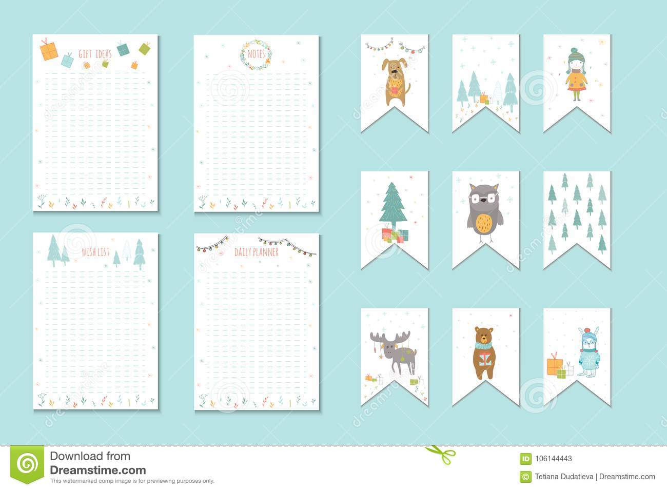 Christmas Holiday To Do Lists, Planner, Cute Notes With Winter V ...