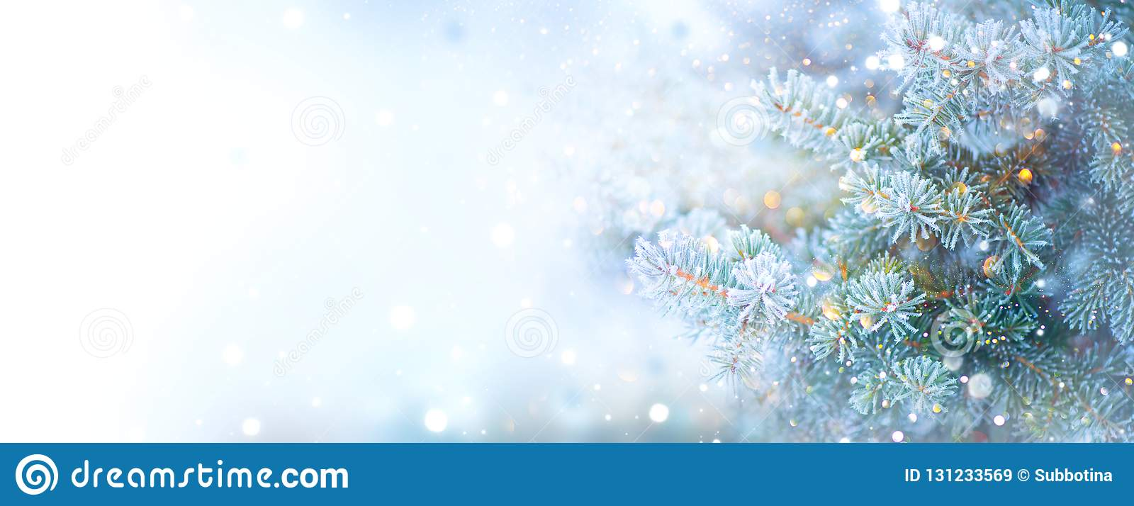 Christmas Holiday Tree. Border Snow Background. Snowflakes