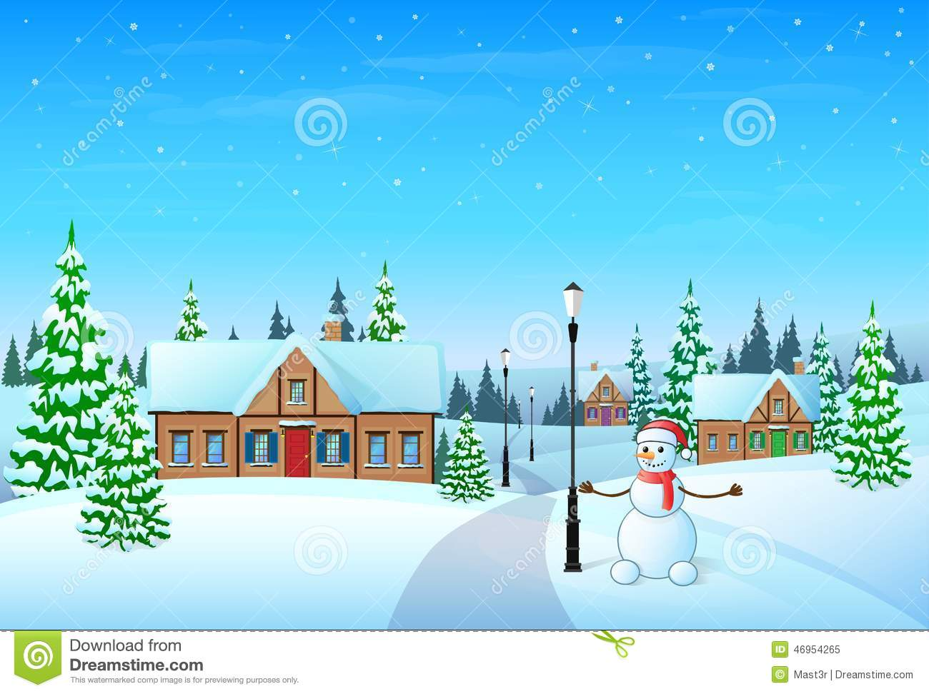 Download Christmas Holiday Village House Winter Snow Stock Vector