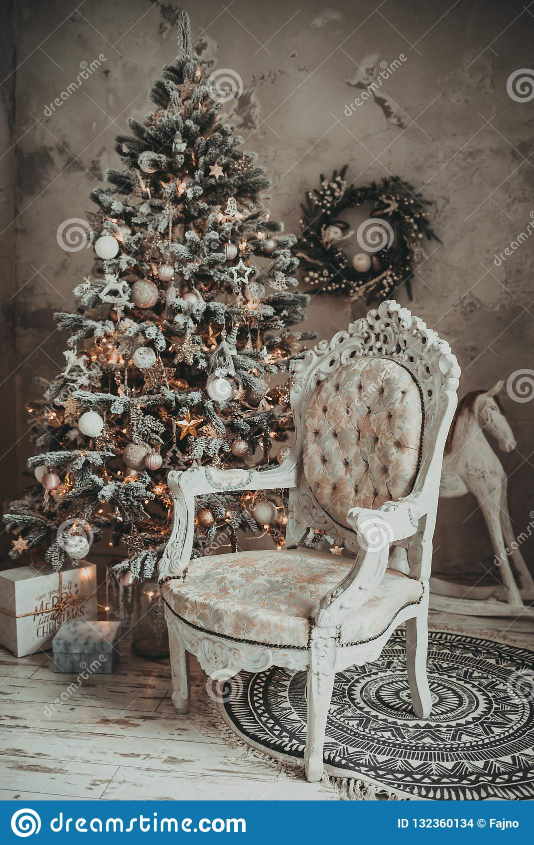 Christmas Holiday Vintage Decorations Stock Image of