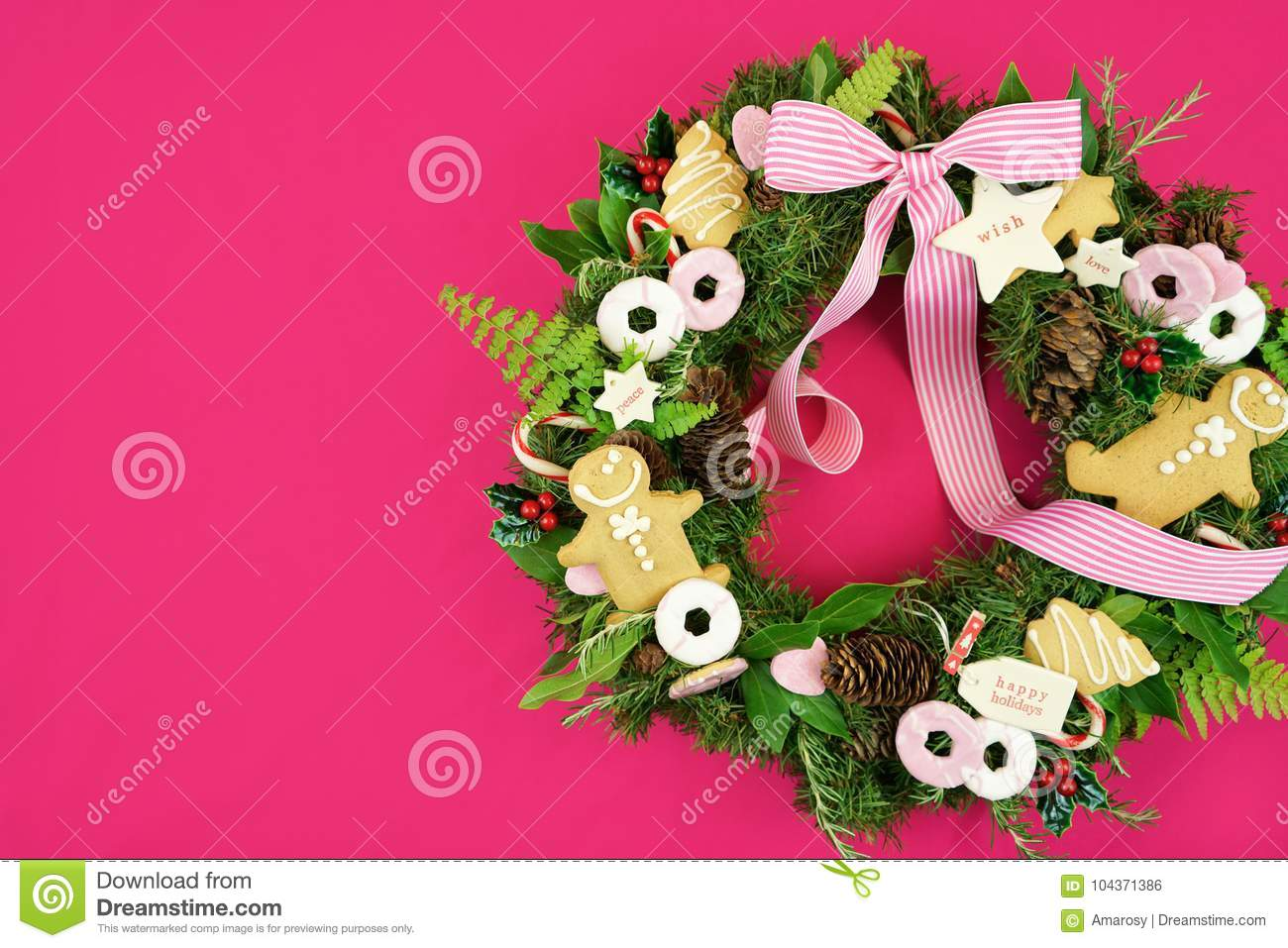 Christmas Holiday Wreath With Cookies Stock Photo Image Of