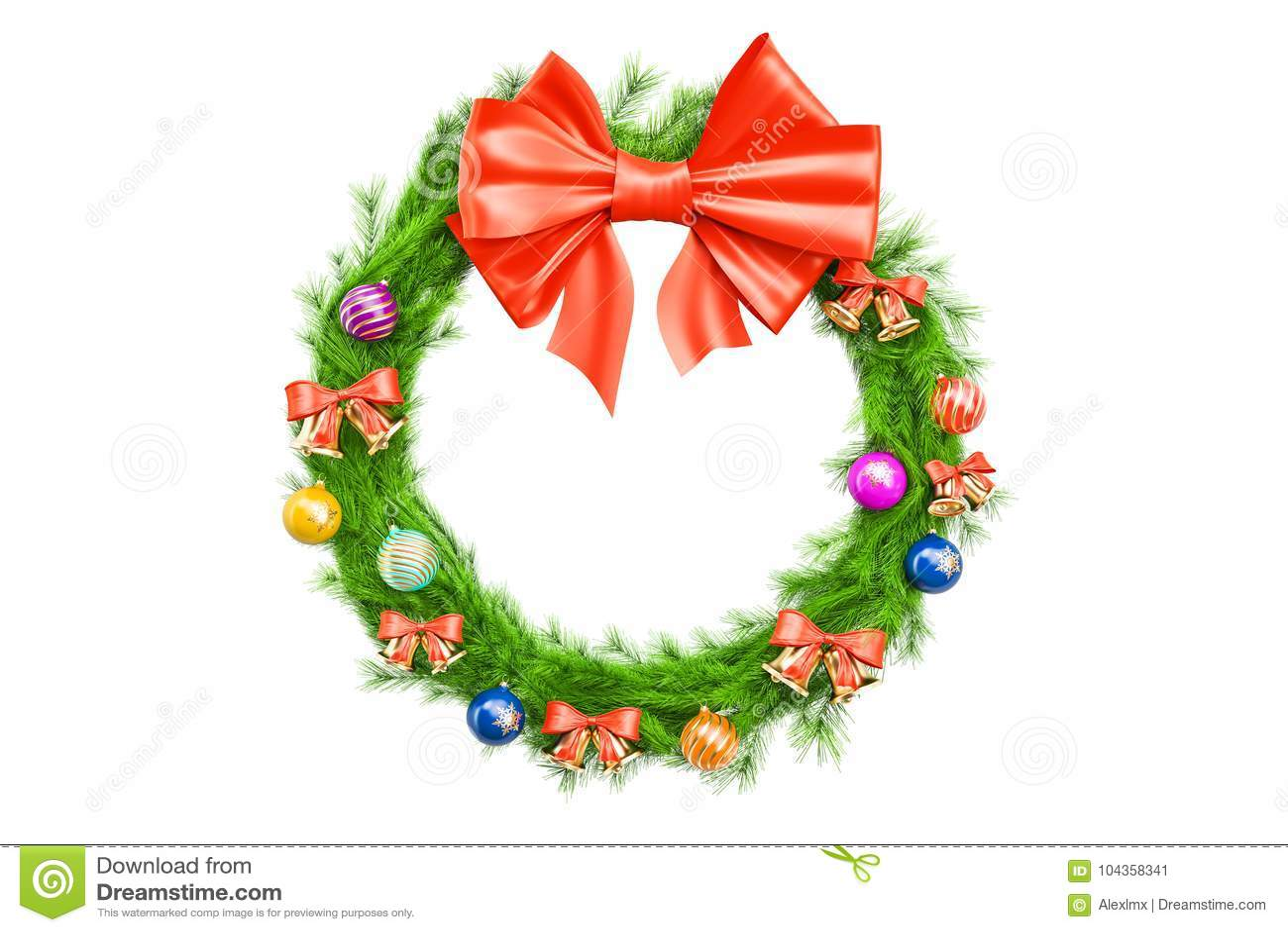 Christmas Holiday Wreath 3d Rendering Stock Illustration Illustration Of Single Closeup 104358341