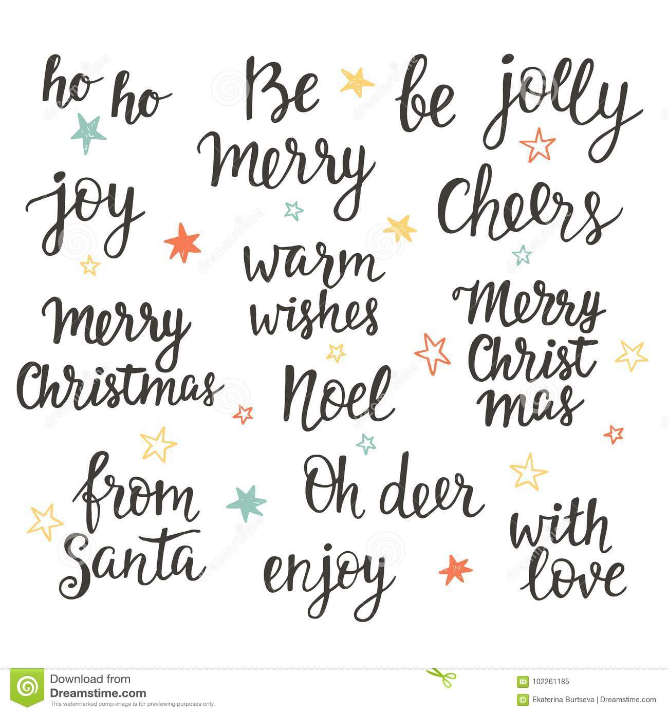 Christmas Holidays Hand Lettering Set Calligraphy Phrases
