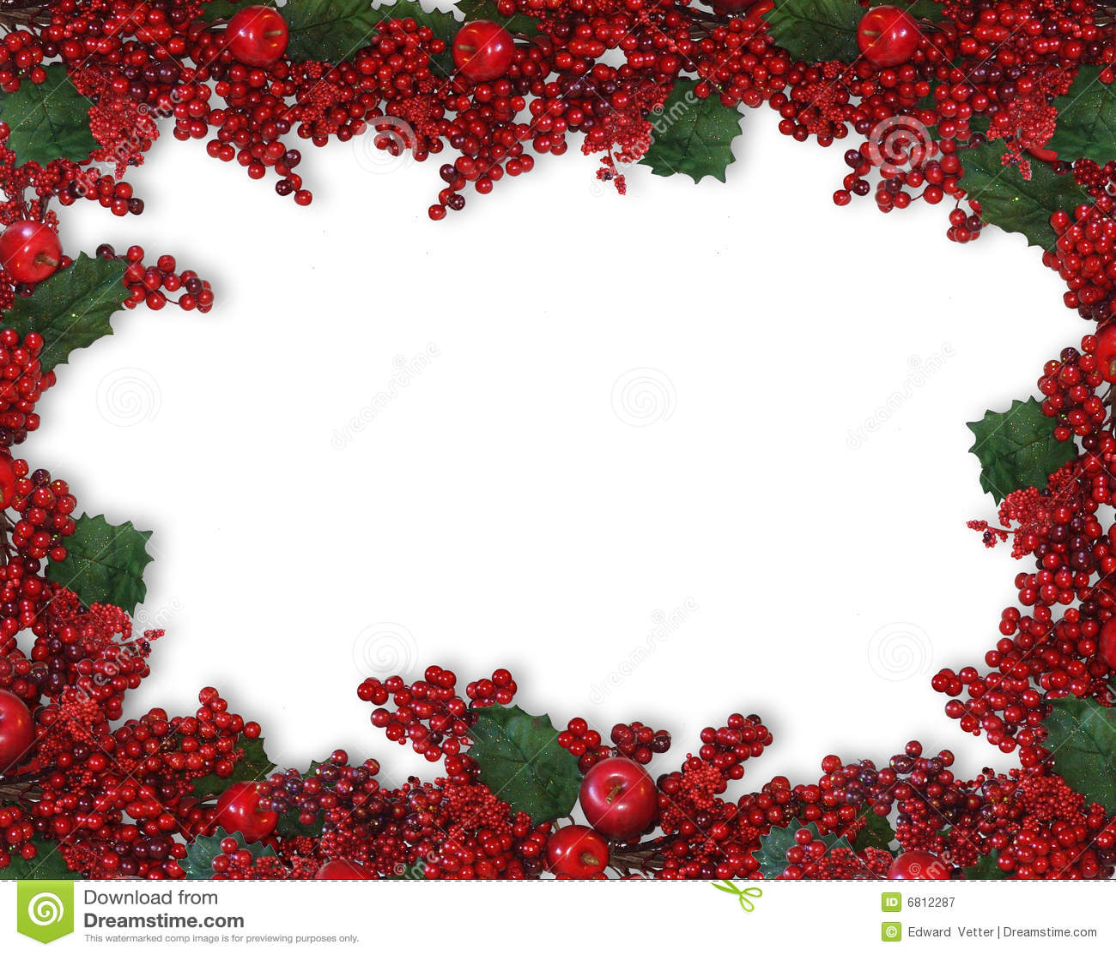 Christmas holly berries border stock illustration