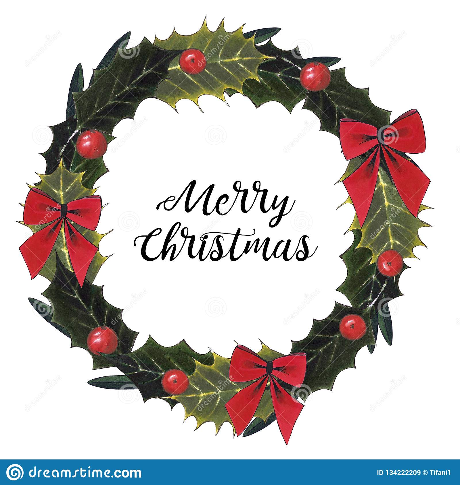 Christmas Wreath With Berry And Bow On A White Background Stock Illustration Illustration Of Drawing Holiday 134222209