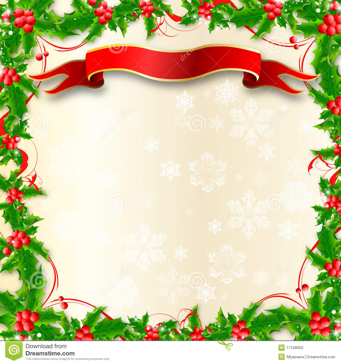 christmas holly border stock photo image 17108050