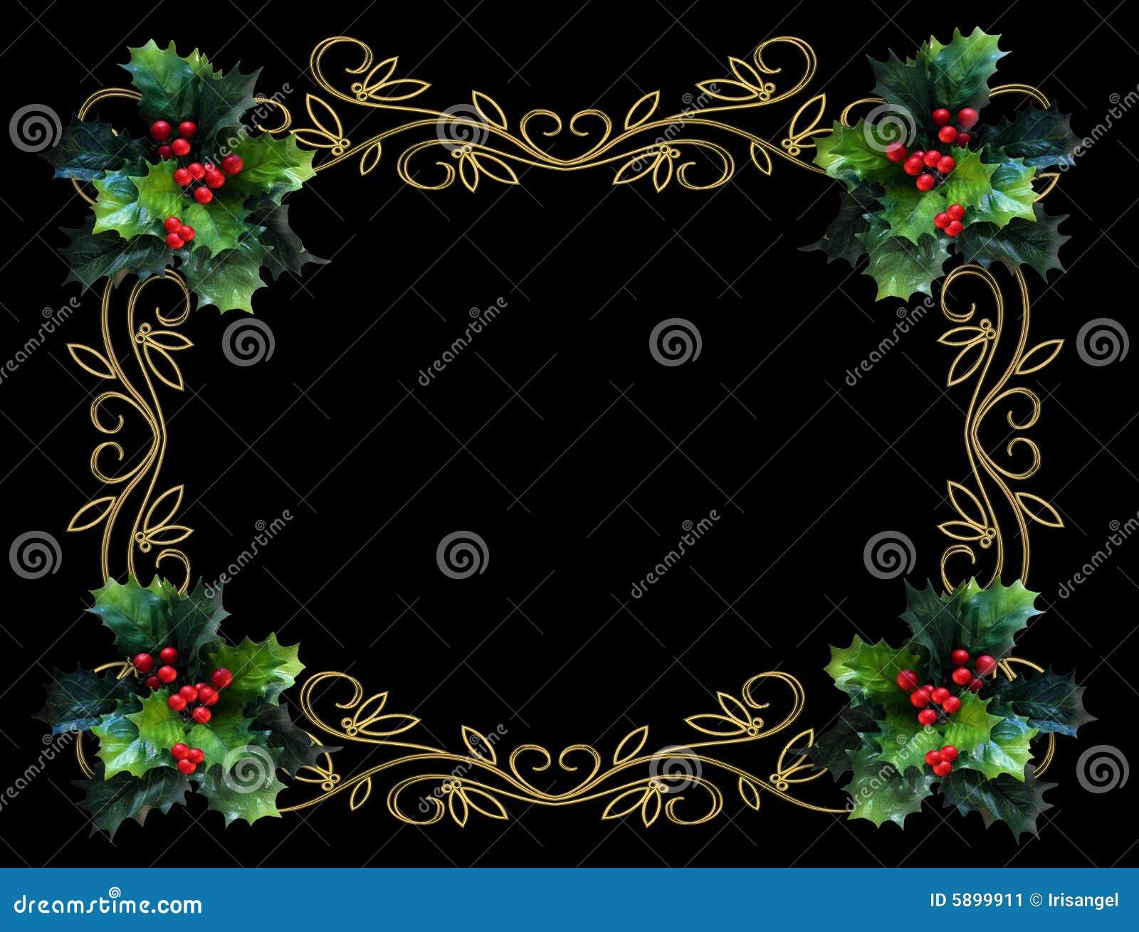 christmas holly border on black stock illustration