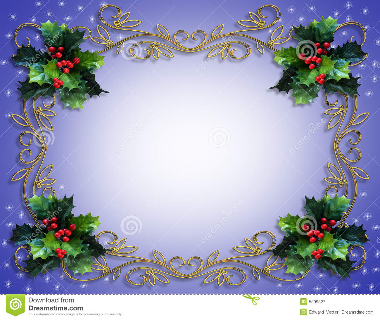 Christmas Holly Border On Blue Royalty Free Stock Photography - Image ...