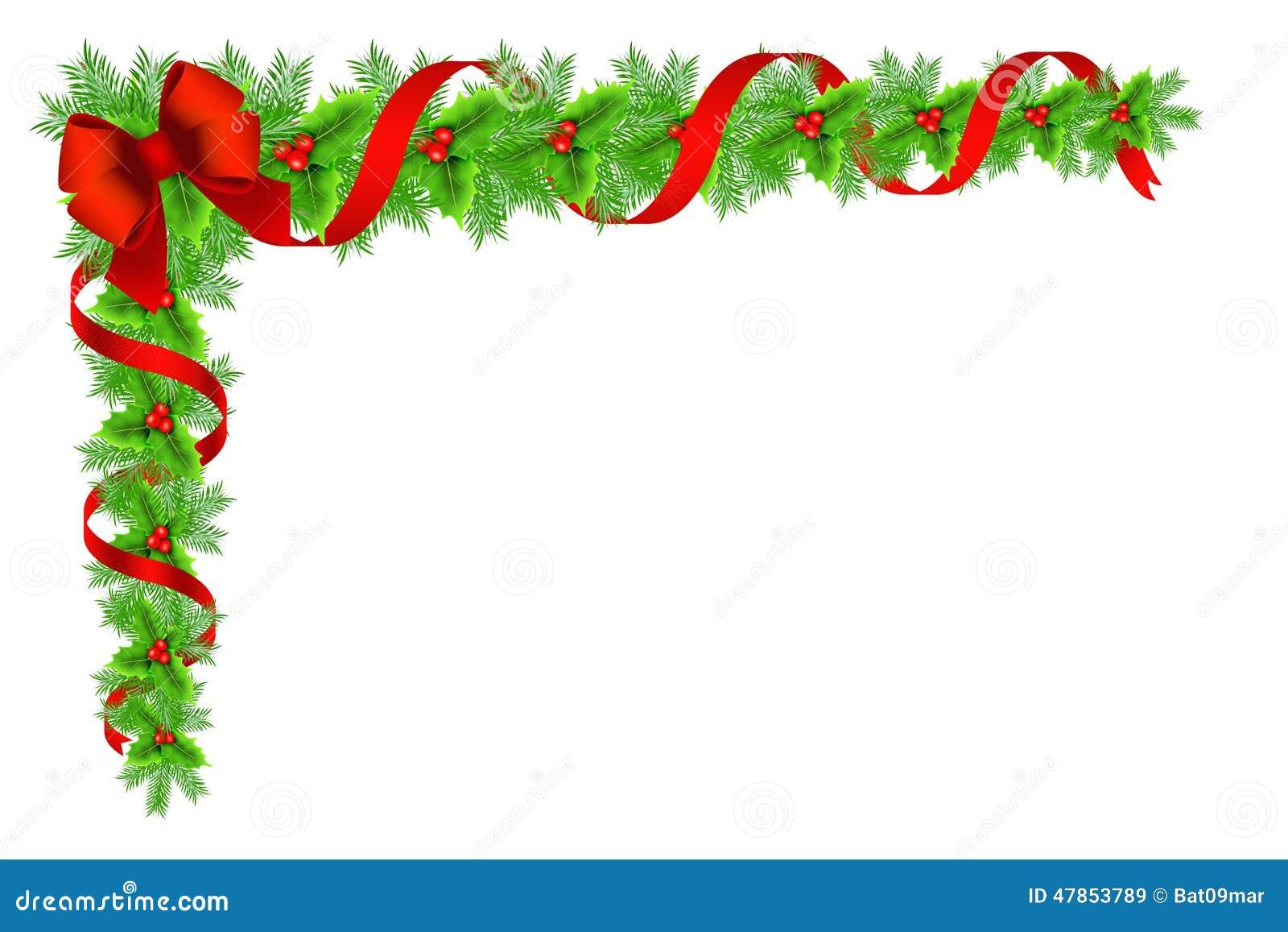 christmas holly border decoration stock illustration. Black Bedroom Furniture Sets. Home Design Ideas