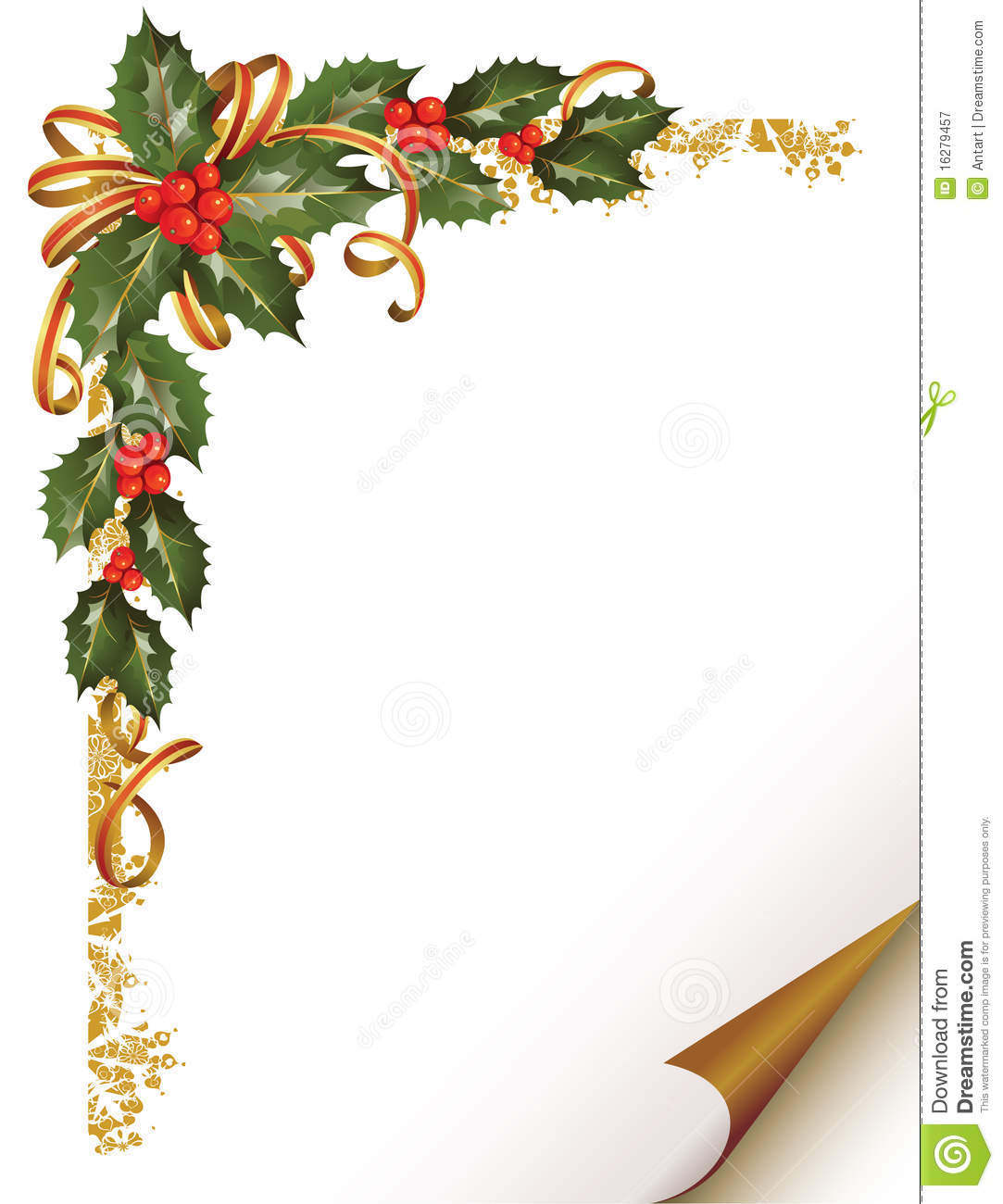 Christmas holly branch in the corner stock vector