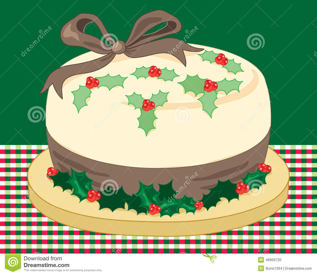 Cake Decoration Holly : Christmas Holly Cake Stock Vector - Image: 46959720