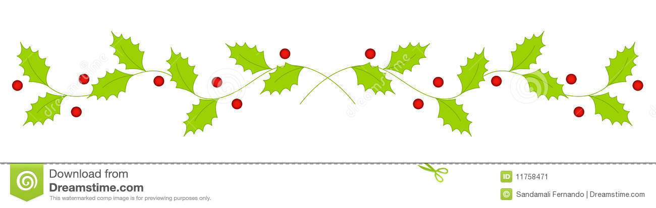 Christmas Holly Divider / Border Stock Vector ...
