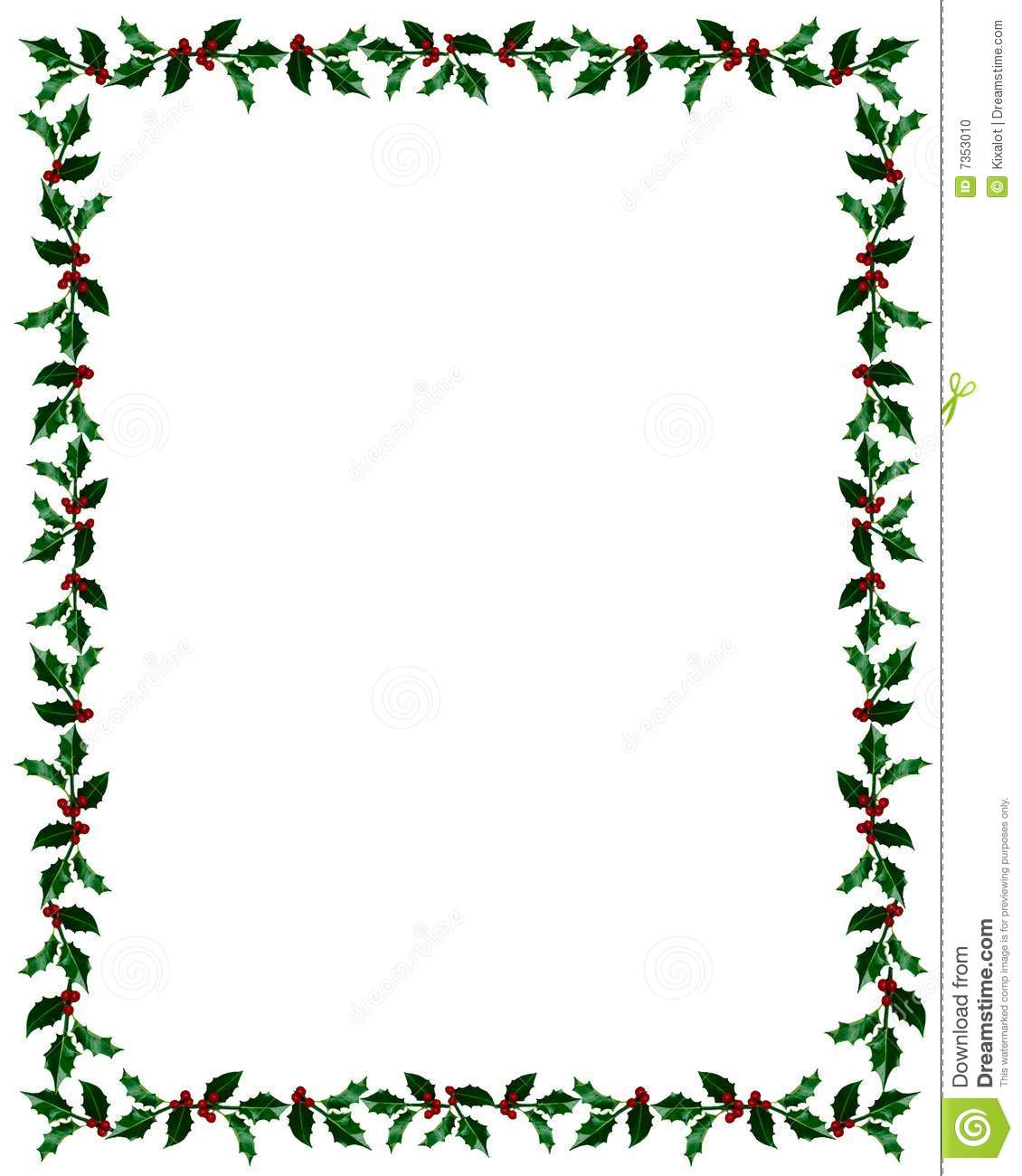Holiday border suitable for Christmas messages and cards featuring ...