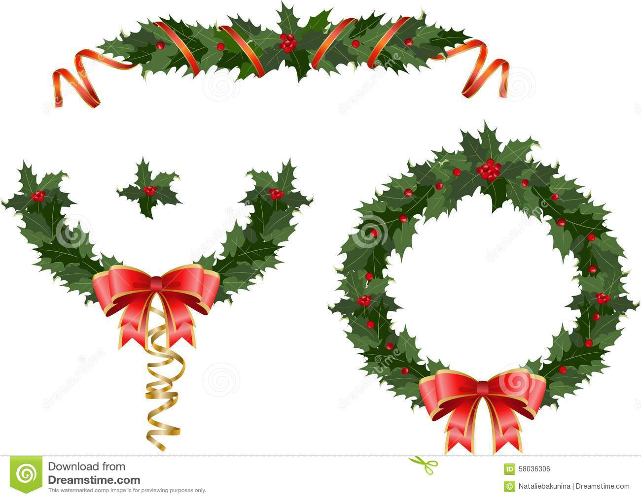 Christmas holly garland stock illustration