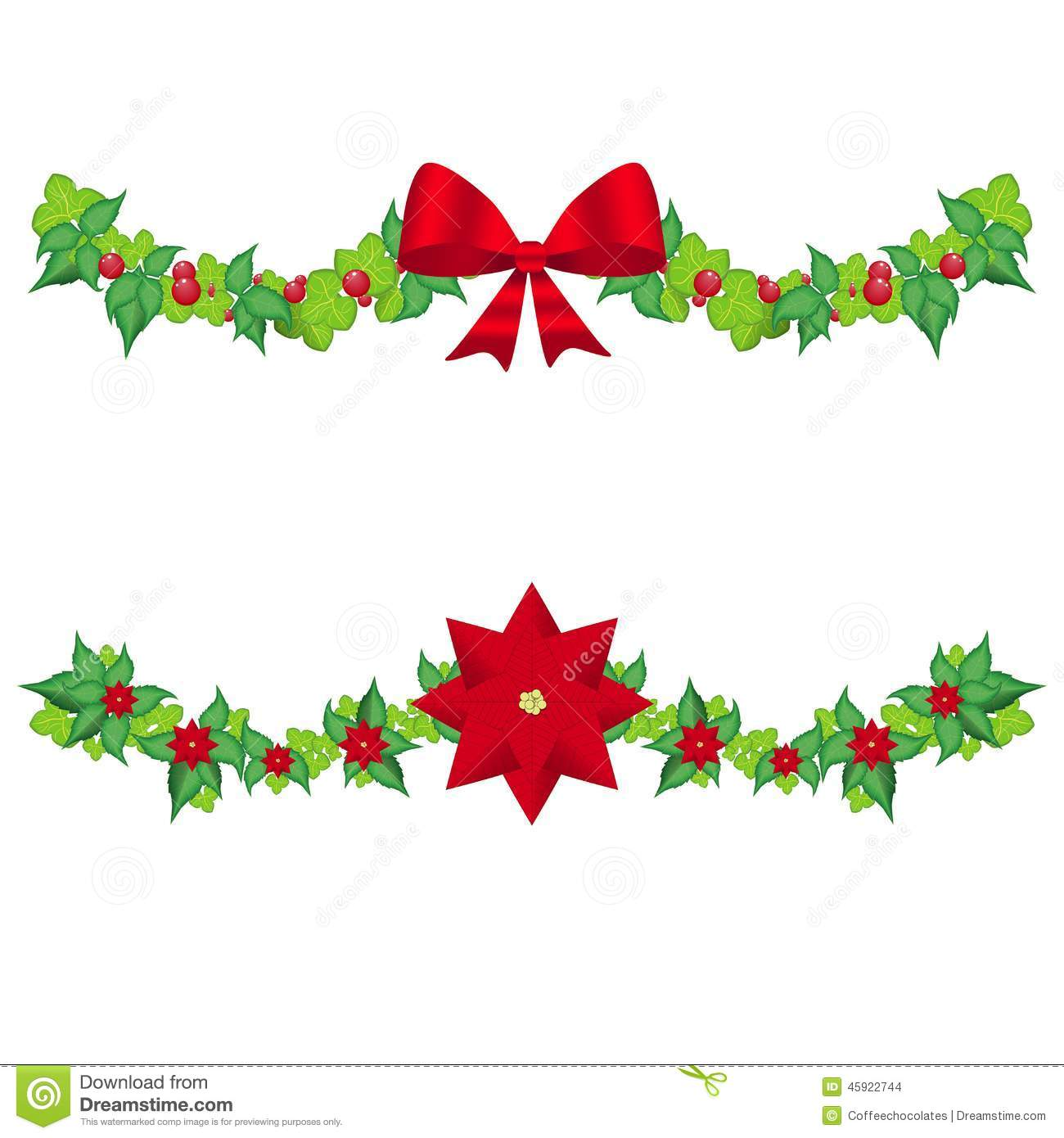 Christmas Holly Garland Vector Stock Vector Illustration Of