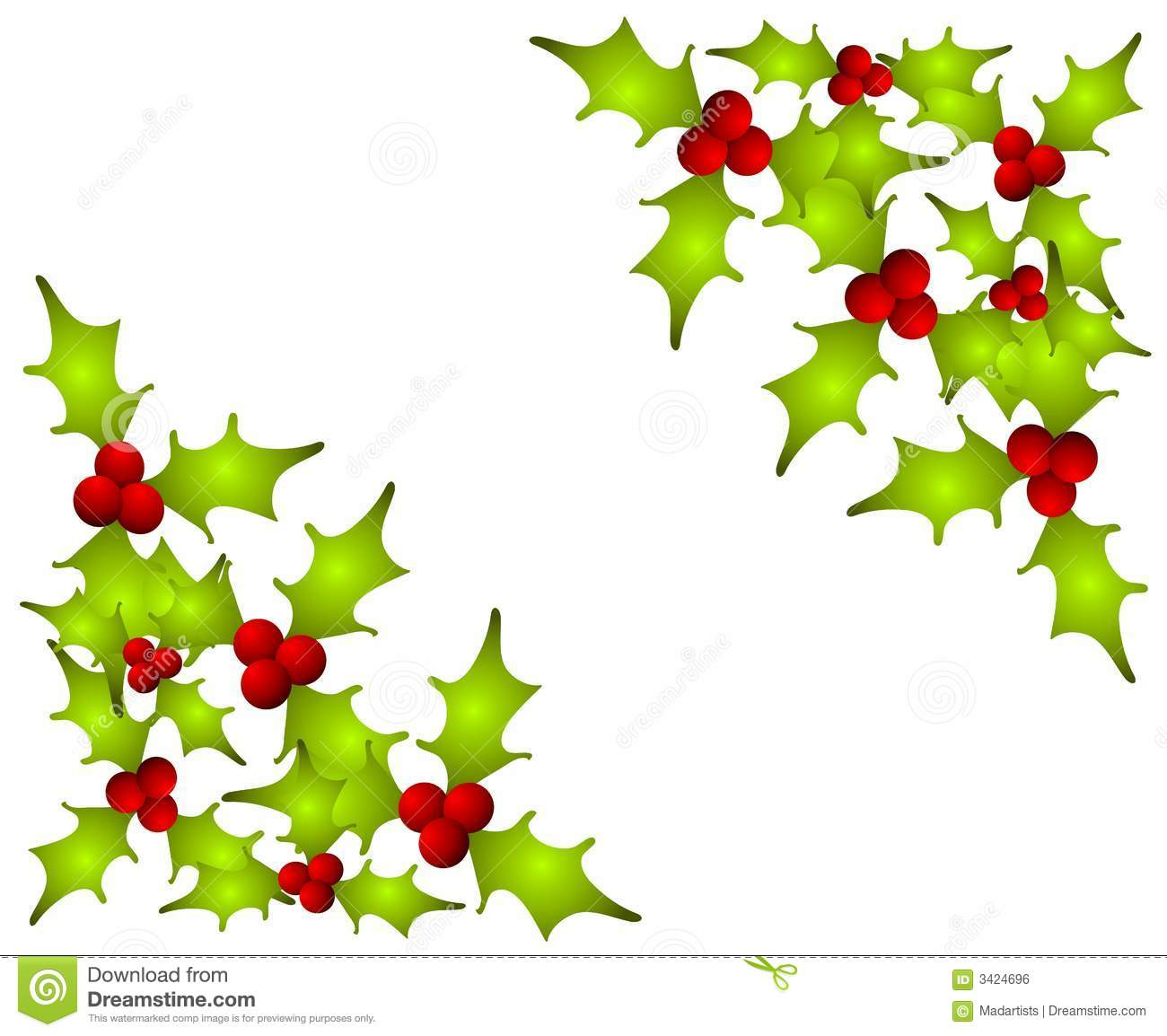 Holly Clip Art Corner Christmas holly leaves corners