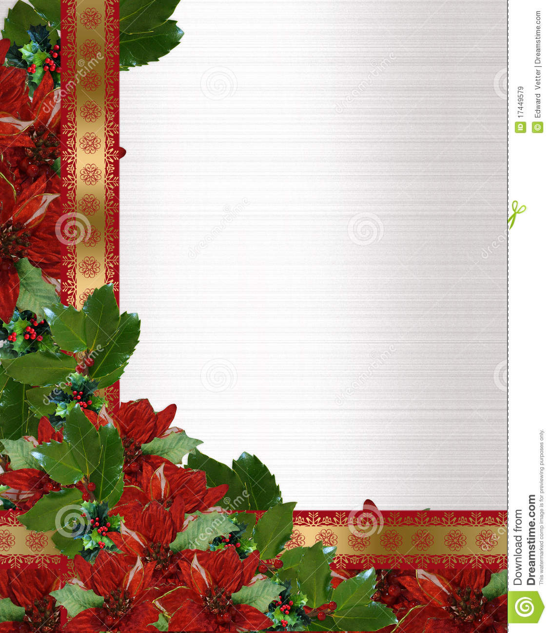 ... or frame with holly, poinsettia flowers, shiny ribbons and copy space
