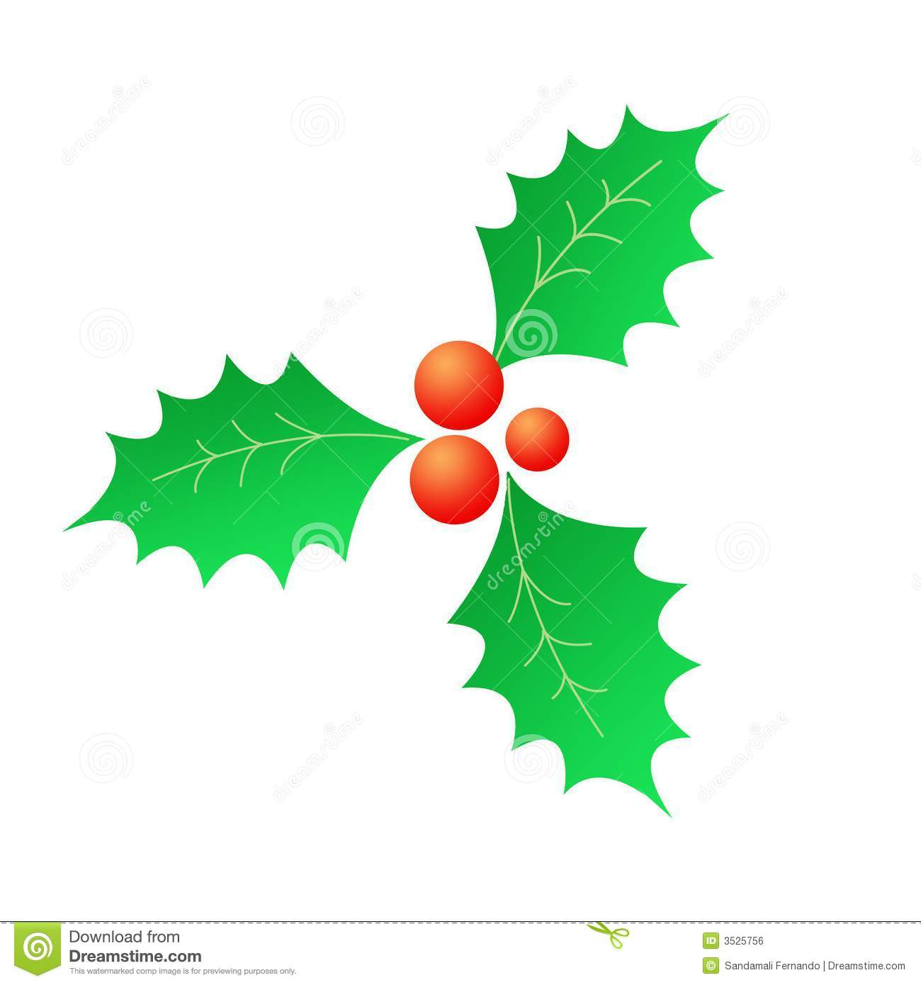 Christmas Holly Clip Art.Christmas Holly Red Berries Stock Illustration