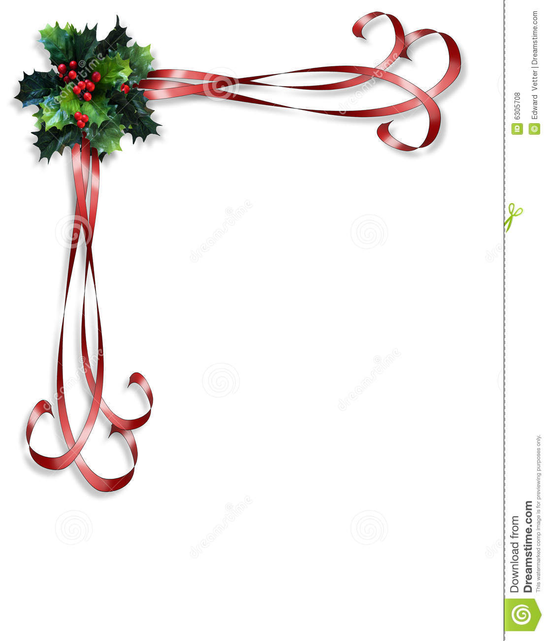 Christmas Holly And Ribbons Border Royalty Free Stock Photos ...