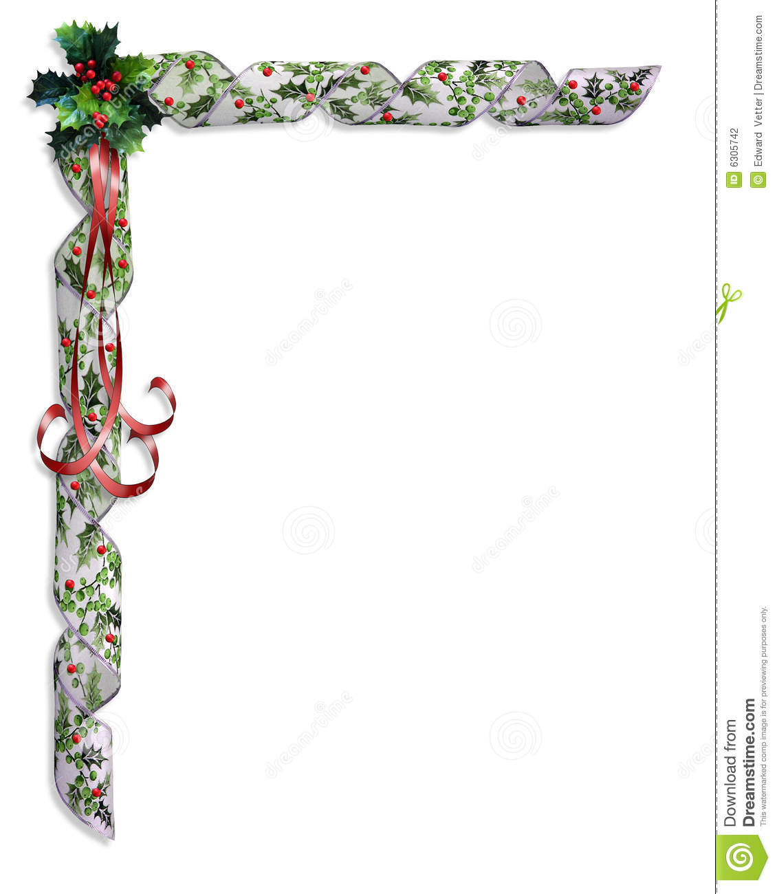 Christmas holly and ribbons border stock illustration