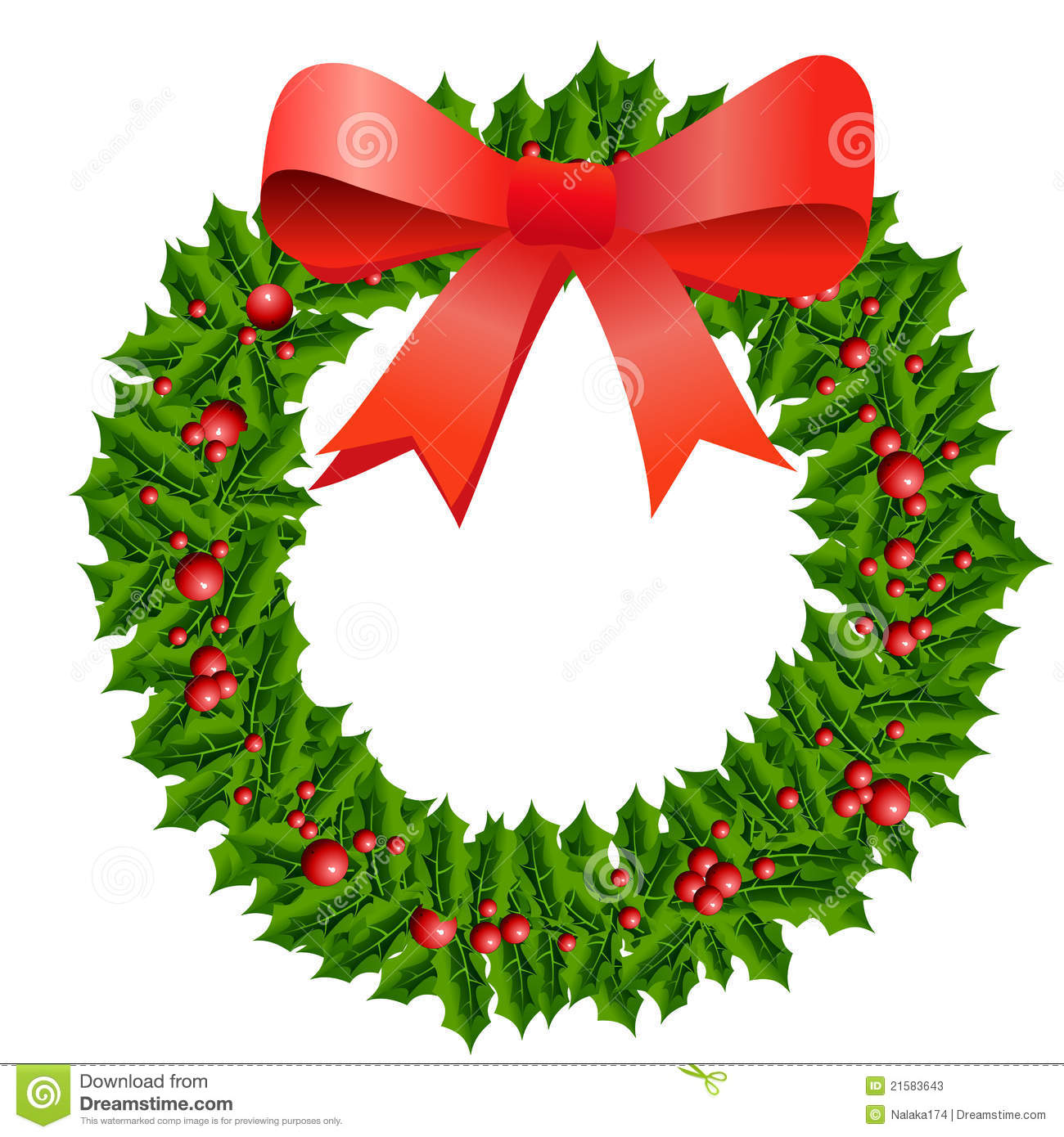 Christmas holly wreath stock illustration image of