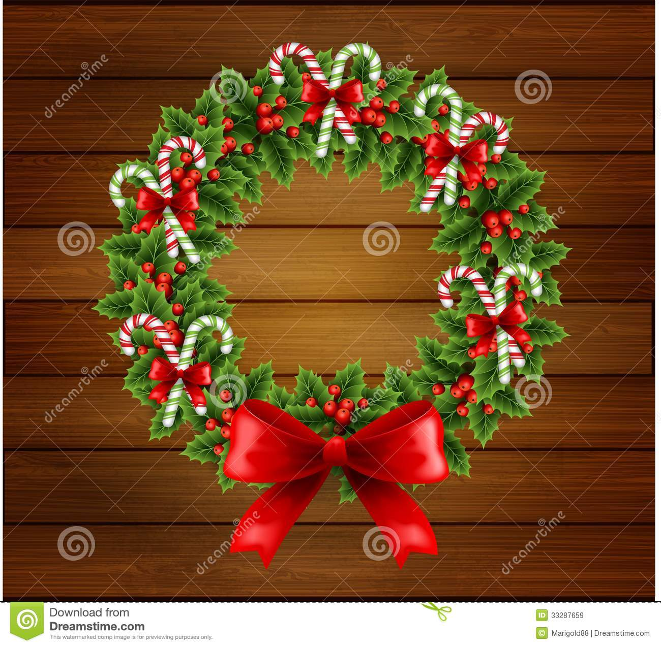 Christmas Holly Wreath In Wood Background Royalty Free