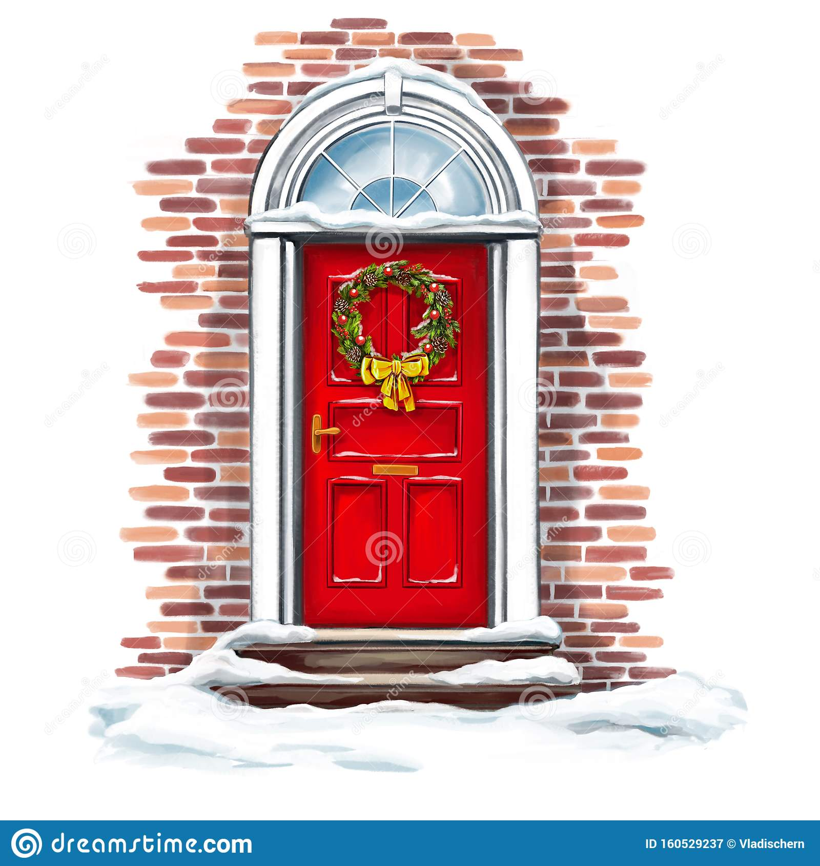 Christmas Home Decoration, Christmas Wreath On The Door In ...