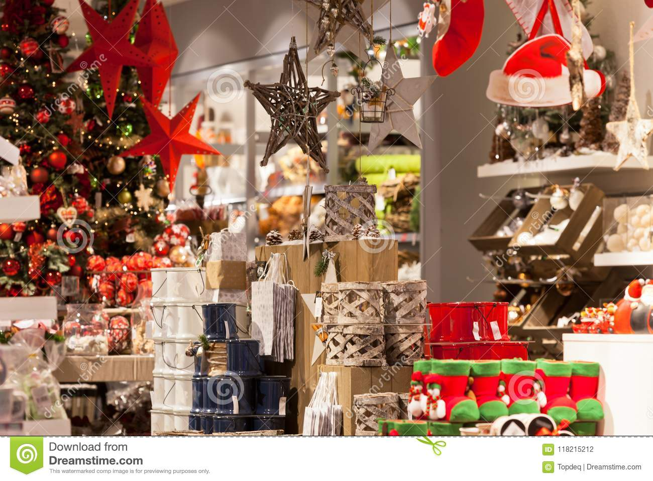 Christmas Home Decoration In A Shop Stock Photo Image Of Indoors