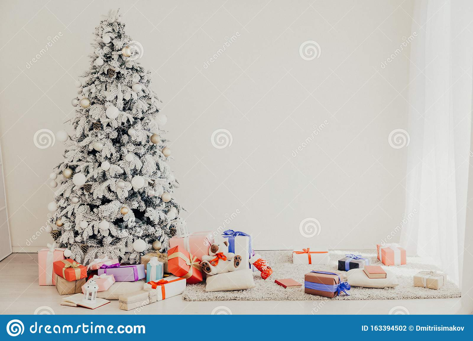 Christmas Home Interior With White Christmas Tree Gifts New Year Holiday Winter Stock Photo Image Of Modern Celebration 163394502