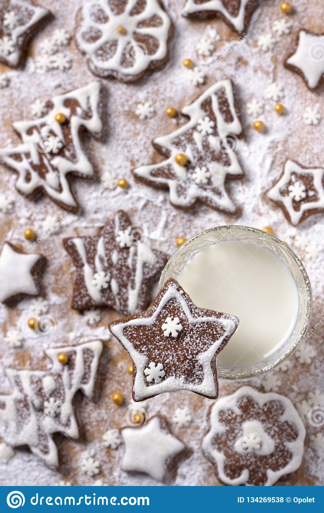 Christmas Homemade Chocolate Cookies Decorated With Icing And