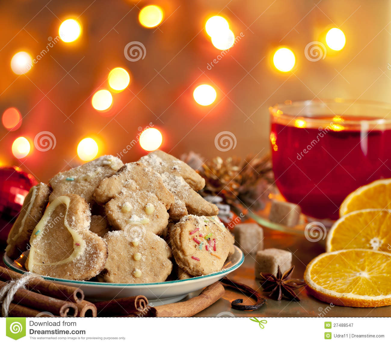 Christmas Homemade Cookies With Punch Stock Image Image