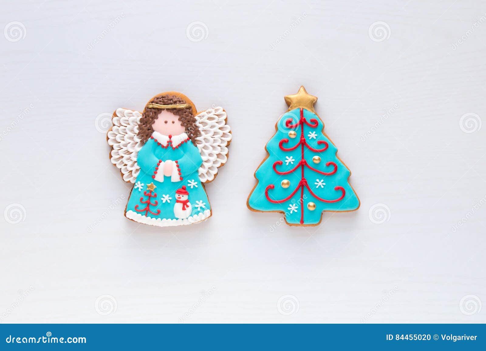 Christmas Homemade Gingerbread Angel And Christmas Tree Cookies