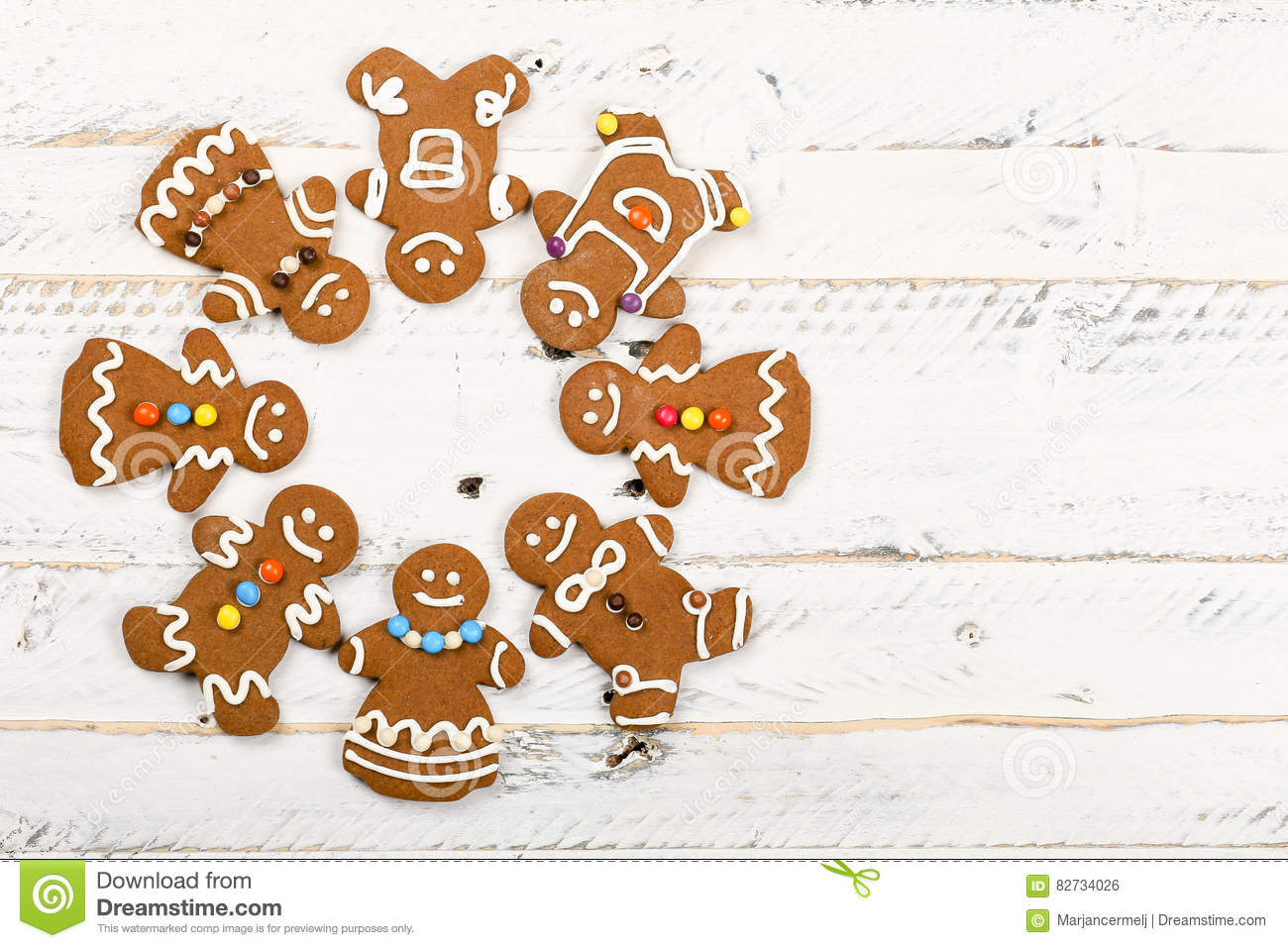Christmas Homemade Gingerbread Cookies On White Wooden Table Stock