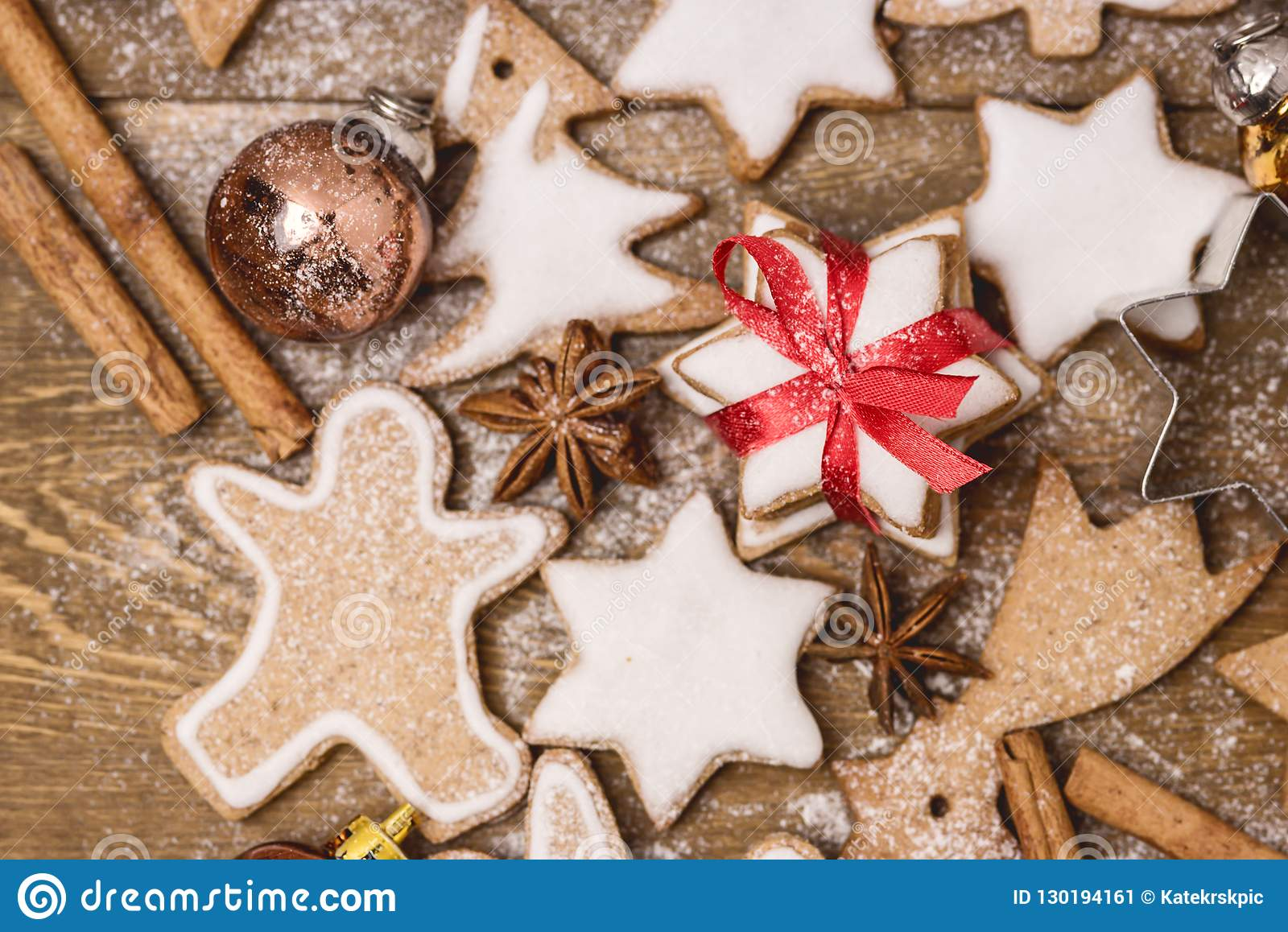 Christmas Homemade Gingerbread Cookies on Wooden Background Christmas Background Christmas Sweet Food Gingerbread Man Horizontal