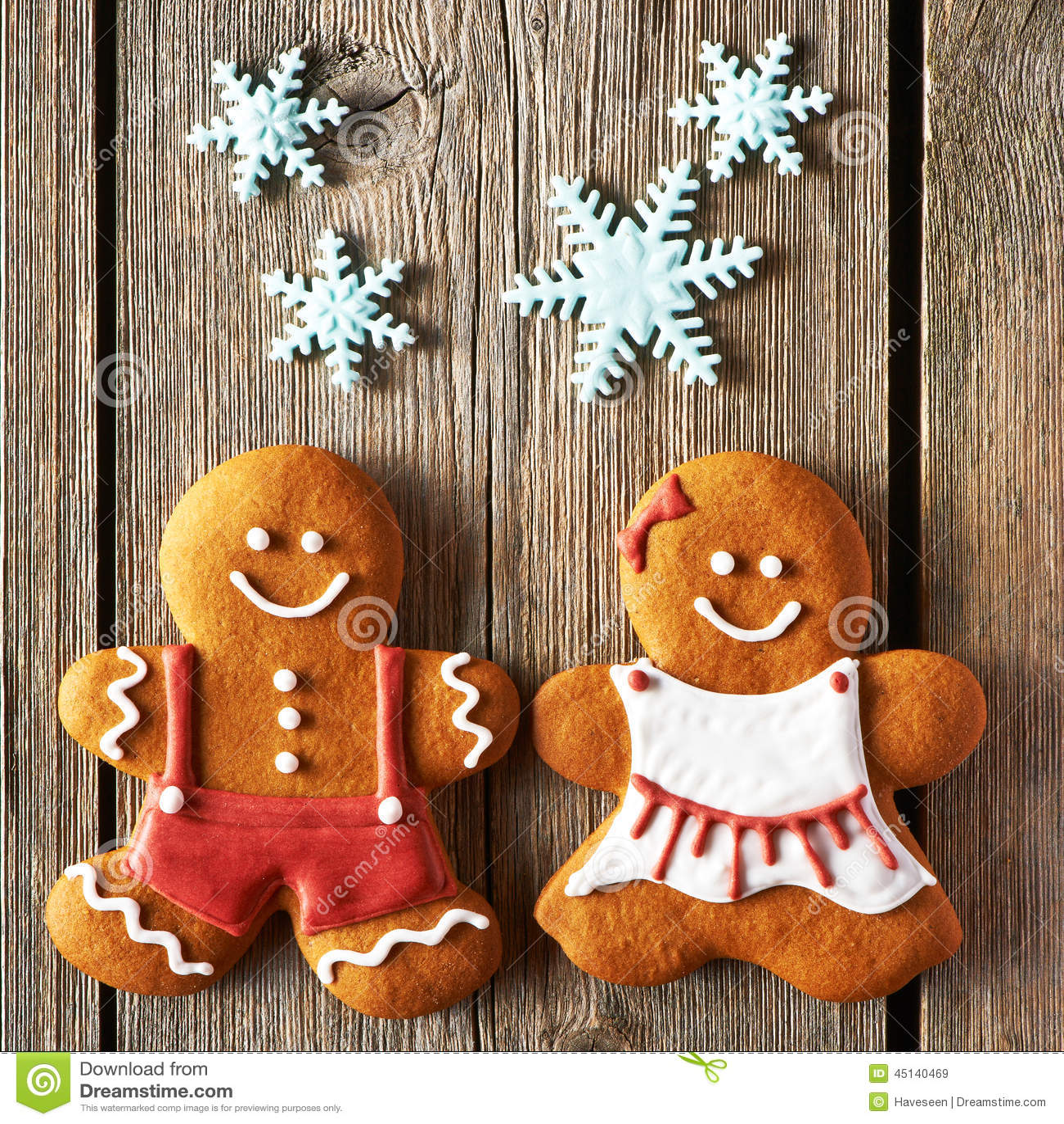 ... Couple Christmas homemade gingerbread couple cookies stock photo