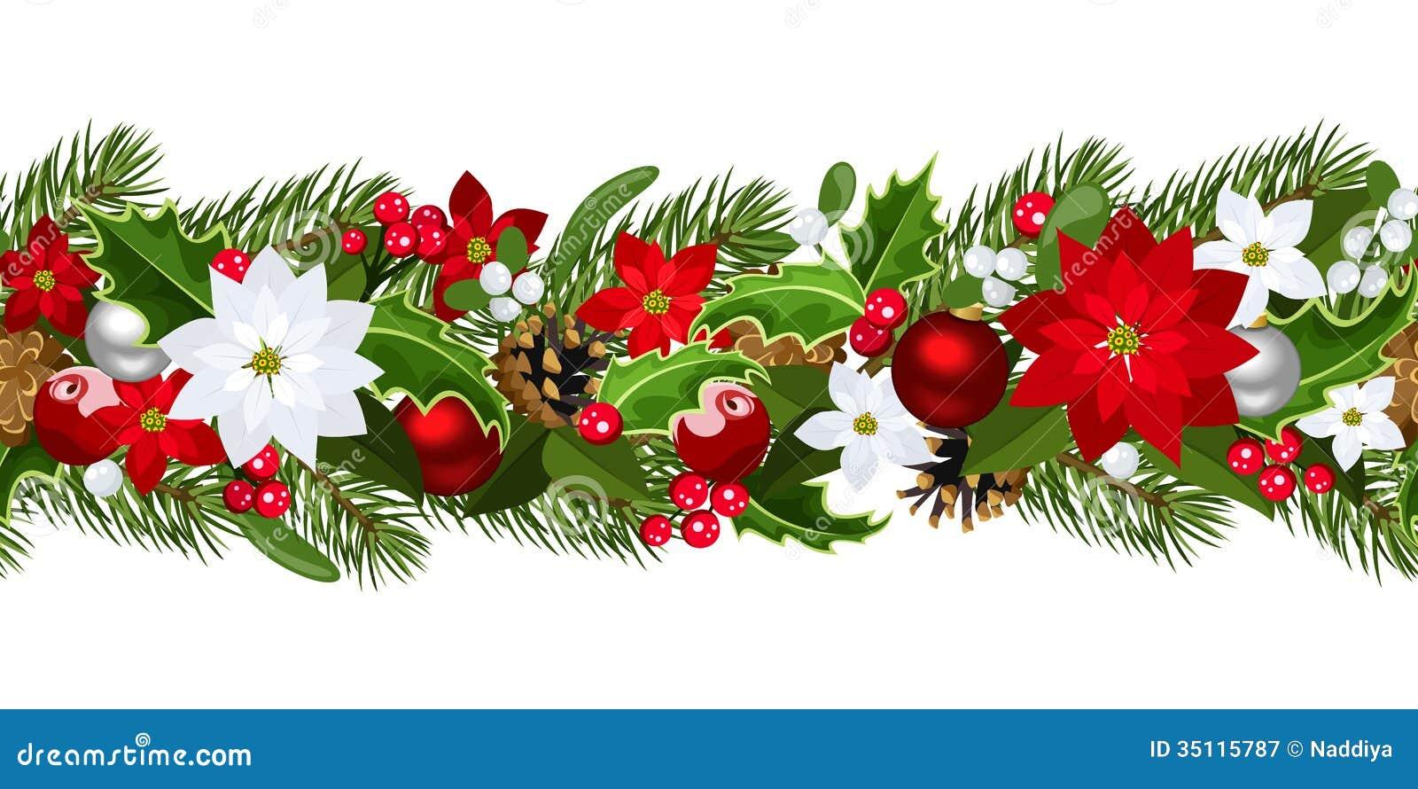 Christmas horizontal seamless background.